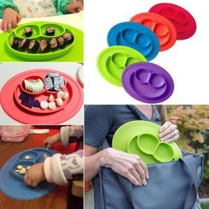 Plateau silicone pour bebe enfants vert